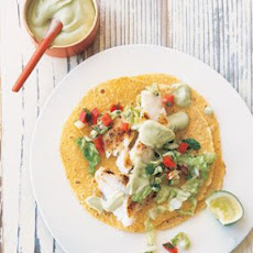 Fish Tacos with Cabbage Slaw and Avocado Crema
