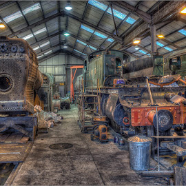 The boiler workshop by Steve Dormer - Transportation Trains ( didcot, the art of hdr photography, steam train photography, trains, steam )