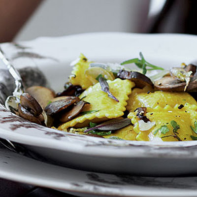 Butternut Squash Ravioli with Mushrooms