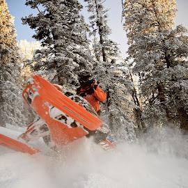 Orange Nelson by Ryan Searle - Sports & Fitness Snow Sports ( boondockers 11, polaris snowmobiles, sunset, wyoming, powder, ryan nelson, klim, snowmobiling )