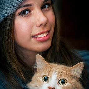 Two by MIhail Syarov - People Couples ( orange, cat, girl, black, portrait, bulgaria )