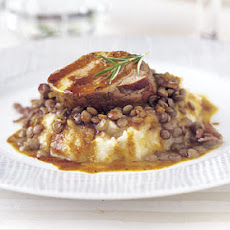 Spiced Pork with Celery Root Purée and Lentils