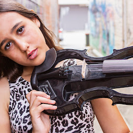 Musician on the sidewalk by Tamara Jacobs - People Musicians & Entertainers ( music, girl, violin, electric, graffiti, street, musician, wall, city, violinist )