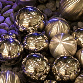 Silver, Shiney Balls by Kathy Suttles - Artistic Objects Other Objects ( shiney, okc, devon towers, suttleimpressions, balls, clustered, oklahoma, silver, orbs, reflective, new years )