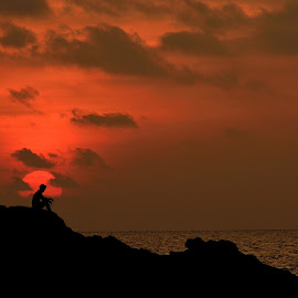 Sunset Man by Sly Sam - Novices Only Landscapes ( nature, sunset, seaside, beach, man )