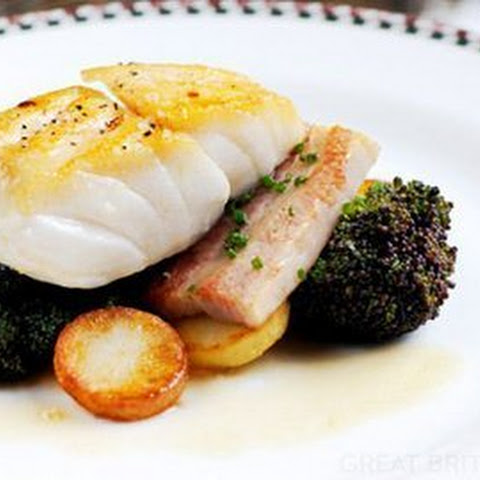 Cod With Pork Belly, Purple Sprouting Broccoli And Lemon Butter Sauce