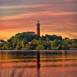 Jupiter Lights by Ken Henke - Landscapes Sunsets & Sunrises ( sunset, florida, florida coast, lighthouse, coast )