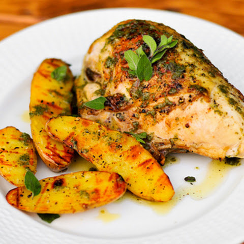 Roasted Greek Chicken And Potatoes In Lemon-Oregano Vinaigrette Recipe ...