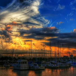 by David Konieczko - Transportation Boats ( clouds, boating, sky, lake michigan, sunsets )