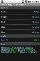 Screenshot of Military Body Fat Calculator