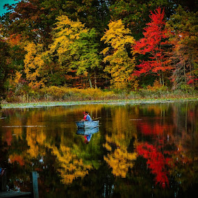 Fishing with Grandpa by Christine Weaver-Cimala - Landscapes Waterscapes ( michigan, reflection, nature, colorful, color, fall, lake, fishing )