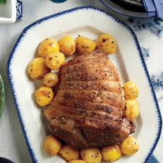 Roasted Marinated Lamb with Lemon and Rosemary Potatoes