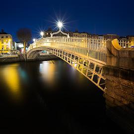 Dublin by Peter Krocka - City,  Street & Park  Night ( ireland, colors, dublin, night, bride, river )