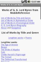 Screenshot of Works of Lord Byron