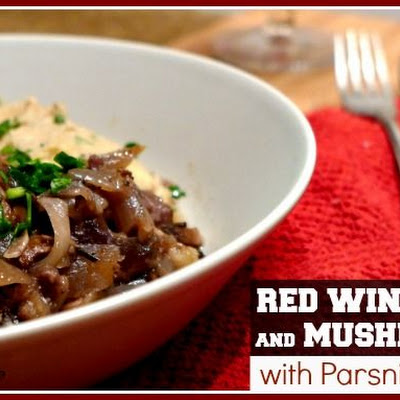 Slow Cooked Red Wine Beef and Mushrooms with a Parsnip Puree