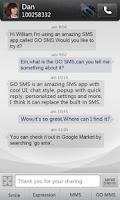 Screenshot of GO SMS Pro simple dark theme