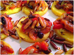 Grilled parmesan polenta with grilled peppers and pine nuts