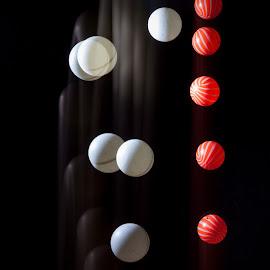 Stroboscopic! by Mark Heslington - Abstract Patterns ( abstract, ball, balls, red, stroboscopic, strobing, white, bounce, strobe )