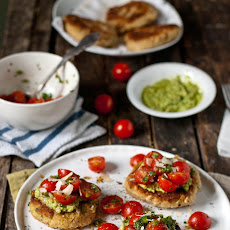 Lemon-Scallion White Bean Patties with Asparagus Pesto & Simple Salsa