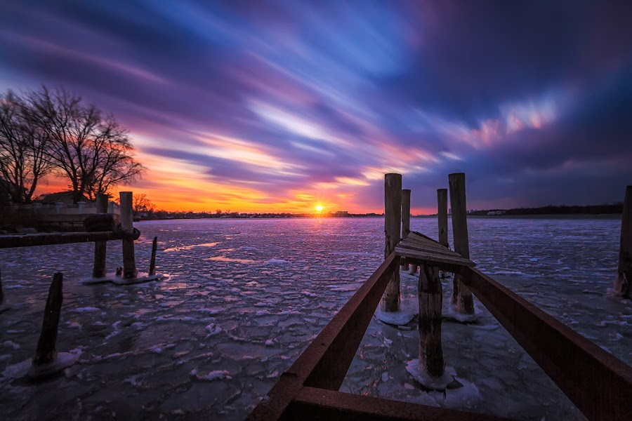 Pastel Sunset by Darren Breckles - Landscapes Sunsets & Sunrises ( clouds, abar's, sunset, pier, long exposure )