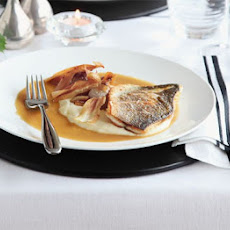 Roast Fillet Of Sea Bass With Parsnip Purée & Caramelised Garlic