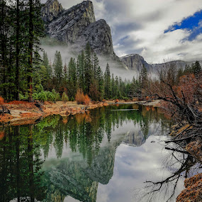 by Brent Clark - Landscapes Mountains & Hills ( clouds, reflection, yosemite, three brothers, landscapes )