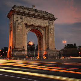 Arch of Triumph  by Ivan Ivanov - Buildings & Architecture Statues & Monuments ( lights, bucharest, arch, night, dusk )