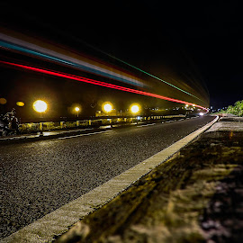 Light Trail  by Shrihari Dhole - Abstract Light Painting ( car, red, blue, trail, night, painting, light, black )