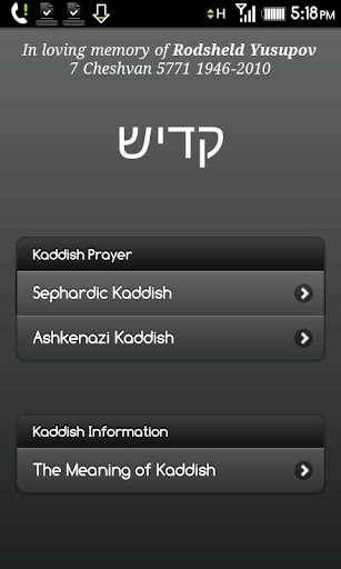 Jewish Mourners Kaddish Prayer