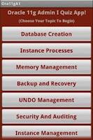 Screenshot of Oracle 11g OCA Quiz App