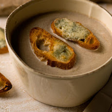 Creamy Mushroom Soup with Blue Cheese Toasts