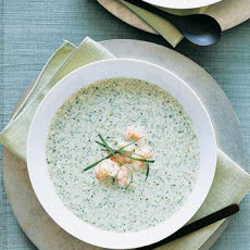 Chilled Yogurt-Spinach Soup with Shrimp