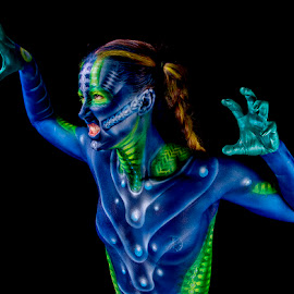 Angry Alien by Jim Merchant - People Body Art/Tattoos ( airbrushed, body painting, artist, interpretation )