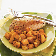 Roasted Chicken Breasts and Butternut Squash with Herbed Wine Sauce