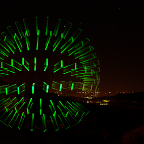 Green Orb by Stuart Wilson - Digital Art Abstract ( light orb, light painting, orb, led, green, lightpainting )