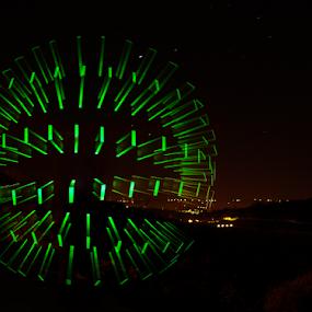 Green Orb by Stuart Wilson - Digital Art Abstract ( light orb, light painting, orb, led, green, lightpainting )