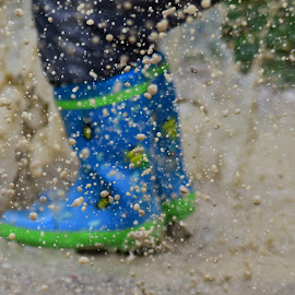 Child play by Tomi Beskovnik - Babies & Children Hands & Feet ( happyness, child, mud, happy, play, boots, rain, jump, kid )