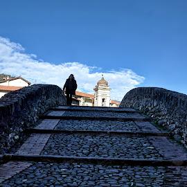 Walking on the bridge by Roberta Sala - City,  Street & Park  Street Scenes ( dolceacqua, hdr, street, street scene, italy )