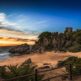 Tulum by Ole Steffensen - Landscapes Beaches ( mexico, sunset, mayan culture, ruins, yucatan, beach, tulum )