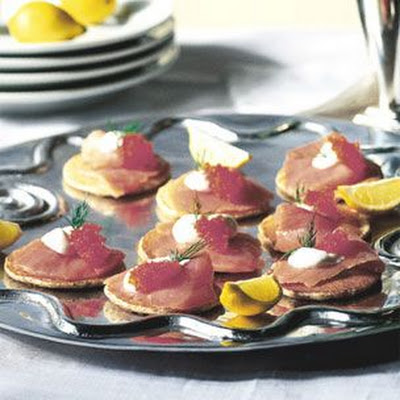 Buckwheat Blini with Smoked Salmon and Caviar
