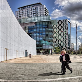 Salford Quays, Manchester. by Roy Branford - Buildings & Architecture Office Buildings & Hotels ( topaz labs., salford keys, manchester, panorama, photoshop, bbc )