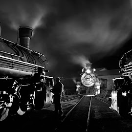 Night Work in Durango CO by Yvonne Lashmett - Transportation Trains ( turntable, night photography, steam train, narrow gauge, durango silverton colorado,  )