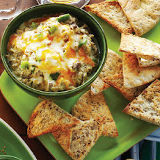 Philly Cheesesteak Dip with Baked Pita Chips