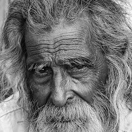 Ramdass Baba by Rakesh Syal - Black & White Portraits & People