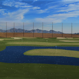 Let's hit some balls by Deb Bulger - Sports & Fitness Golf ( patterns, sports, green and blue, golf, landscape, tilt shift, driving range,  )