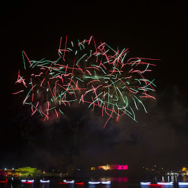 50 years of Independence in Malta  by Daniel Attard - Abstract Fire & Fireworks ( abstract, crazy fireworks, red and green, red, 50 years of independence, 50 years of independence in malta, malta, firework, green, boats, fireworks )