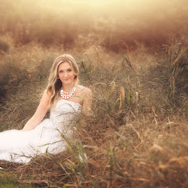 by Joe Browning - Wedding Bride ( field, wedding, beautiful, sunlight, bride )