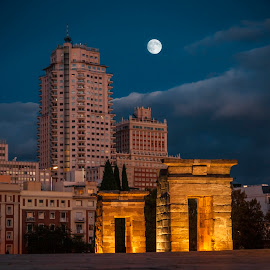 Temple of Debot Madrid by Christian Diboky - City,  Street & Park  Historic Districts ( templo de debot, temple, skyline, moon, torre de madrid, madrid, debot, full moon, evening, plaza de españa, spain,  )