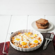 Roasted Sweet Potatoes, Gorgonzola and Baked Eggs