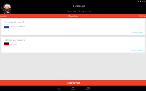Screenshot #1 of VPN Hideninja / Android